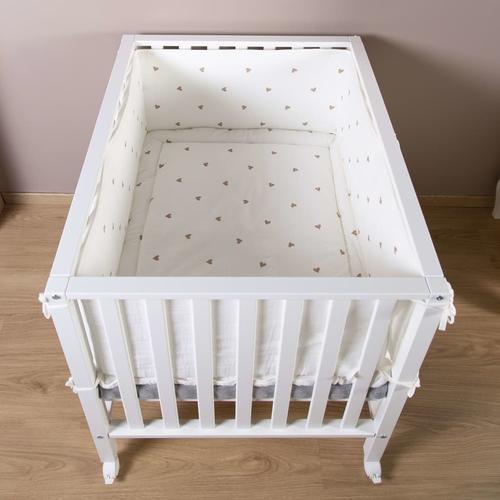 CHILDHOME Kinderbett-Umrandung Hearts Jersey und Musselin