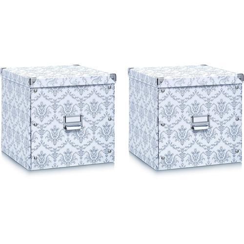 Zeller Present Aufbewahrungsbox, (2er Set) weiß Körbe Boxen Regal- Ordnungssysteme Küche Ordnung Aufbewahrungsbox