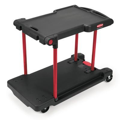 Rubbermaid FG430000BLA 2 Level Polymer Utility Cart w/ 400 lb Capacity, Raised Ledges