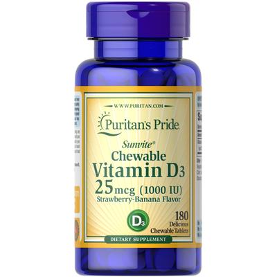 Puritan's Pride Chewable Vitamin D3 25 mcg (1000 IU)-180 Tablets