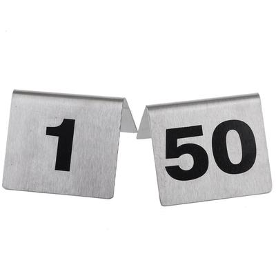 """Tablecraft T150 Tabletop Number Cards - #1 50, 2"""" x 2 1/2"""", Stainless/Black"""