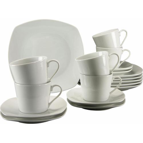 CreaTable Kaffeeservice Amelie, (Set, 18 tlg.), Mikrowellengeeignet weiß Geschirr-Sets Geschirr, Porzellan Tischaccessoires Haushaltswaren
