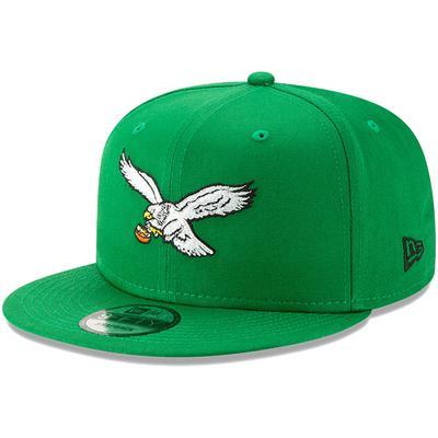 Men's Philadelphia Eagles New Era Kelly Green Throwback 9FIFTY Adjustable Snapback Hat