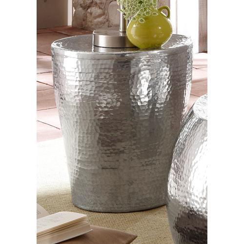 Home affaire Beistelltisch Alui, aus schönem Aluminium in Hammerschlag-Optik, Höhe 41 cm silberfarben Beistelltische Tische