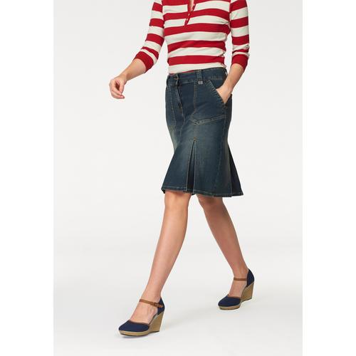 Aniston CASUAL Jeansrock, mit eingelegten Falten blau Damen Jeansrock Midiröcke Röcke