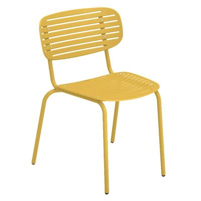 emu 639 Outdoor Stacking Side Chair w/ Steel Slat Cut Out Back & Seat - Steel Frame, Marine Blue