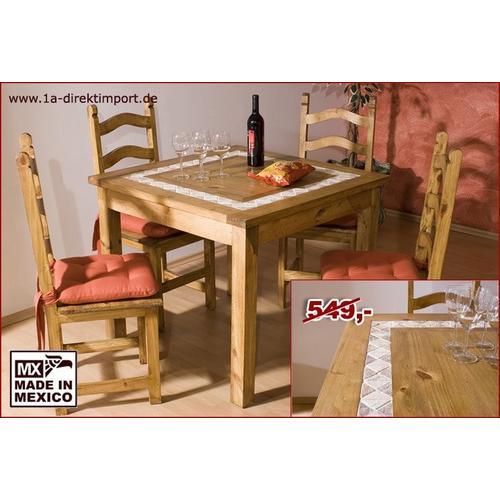 Mexico Tisch Massivholztisch 90x90, Pinie + Marmoreinlage