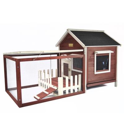 Advantek The White Picket Fence Rabbit Hutch in Auburn & White, 44 LBS, Brown