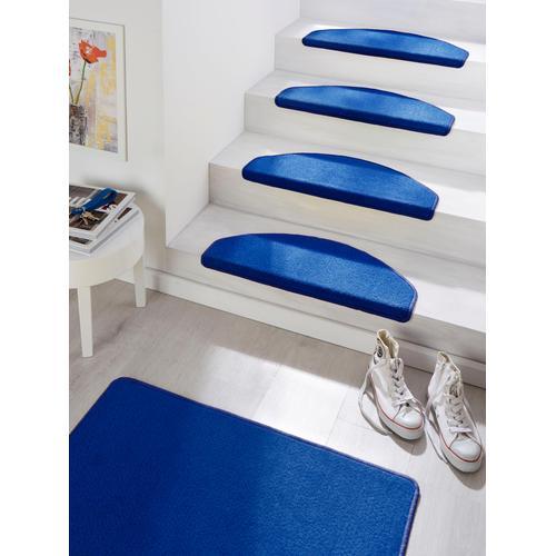 HANSE Home Stufenmatte Fancy, halbrund, 7 mm Höhe, große Farbauswahl, 15 Stück in einem Set blau Stufenmatten Teppiche