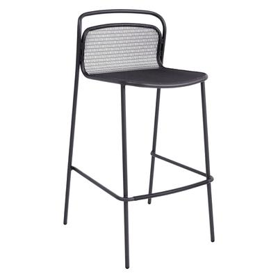 emu 636 Outdoor Armless Bar Stool w/ Steel Mesh Back & Seat - Steel Frame, Iron