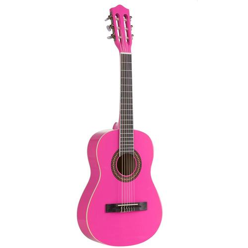 Voggenreiter Kindergitarre 1/2, pink, 1/8 rosa Gitarre Musikinstrumente