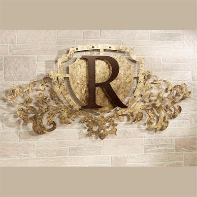 Generations Monogram Crest Metal Wall Art Sign Antique Gold, Letter J, Antique Gold