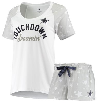 Women's Dallas Cowboys White/Gray Fursten Raglan T-Shirt and Shorts Sleep Set