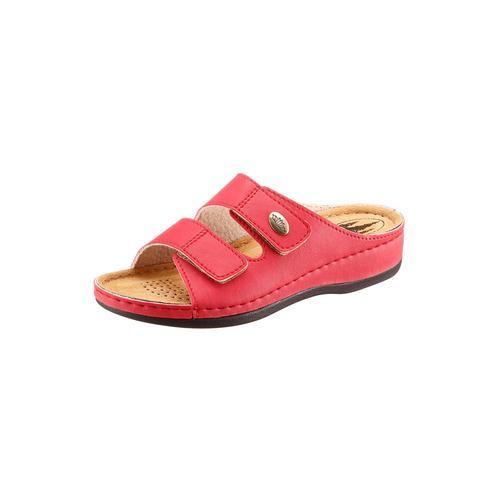 Franken-Schuhe Pantolette rot Damen Keilschuhe Sommerschuhe