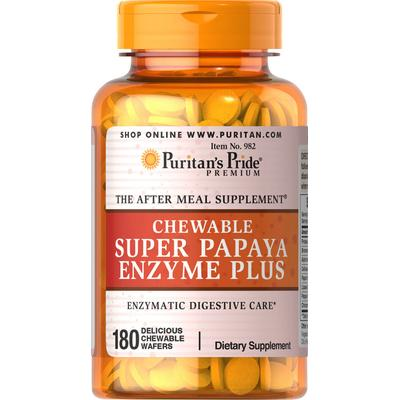 Puritan's Pride 2 Pack of Chewable Super Papaya Enzyme Plus-180-Chewables