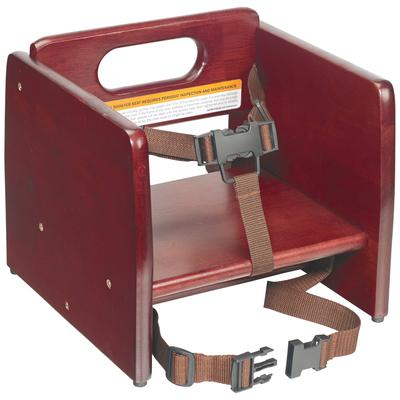 Winco CHB-703 Single-Height Booster Seat w/ Waist & Chair Strap - Wood, Mahogany