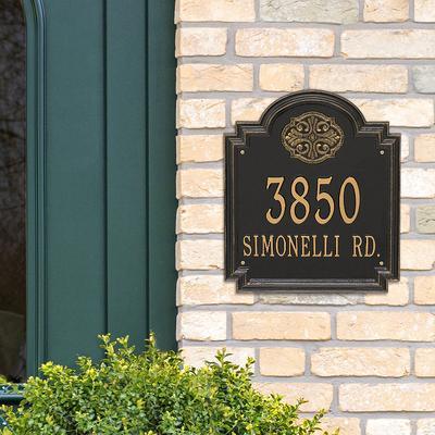 Designer Square Wall Address Plaque - 2 Lines, Estate, Bronze/Verdigris Plaque with Fleur-de-Lis - Frontgate