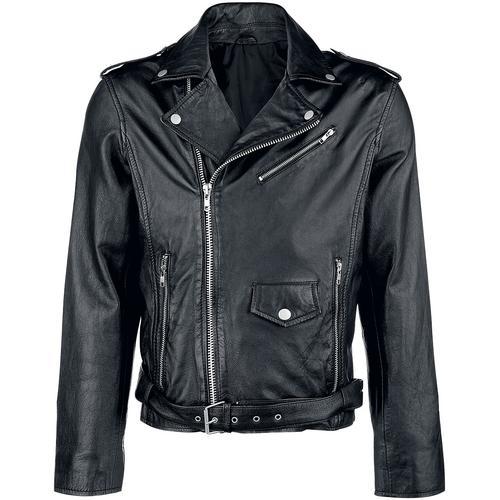 Classic Style Lederjacke Herren-Lederjacke - schwarz