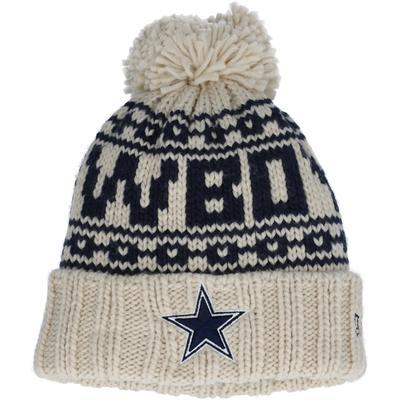 Girls Youth New Era Cream Dallas Cowboys 2021 NFL Sideline Pom Cuffed Knit Hat