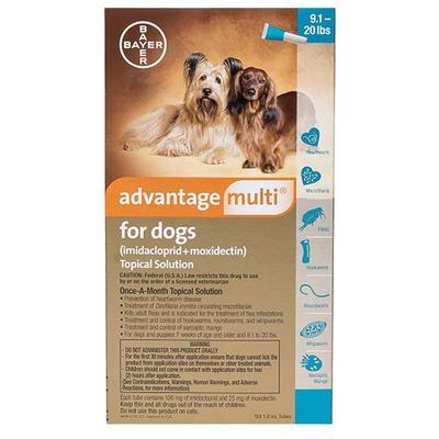 Advantage Multi for Medium Dogs 9.1-20 Lbs (Aqua) 12 Doses