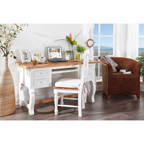 Schreibtisch MEXICO Weiß / Honig, Shabby Chic, Pinie massiv