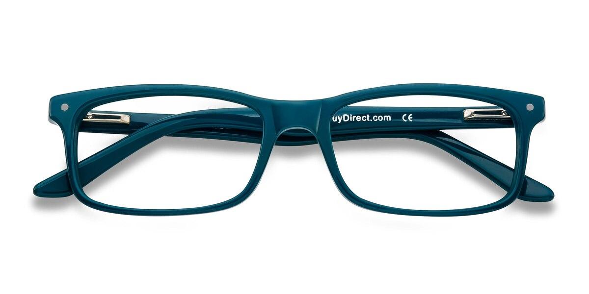 Unisex Rectangle Teal Acetate Prescription eyeglasses - EyeBuydirect's Mandi