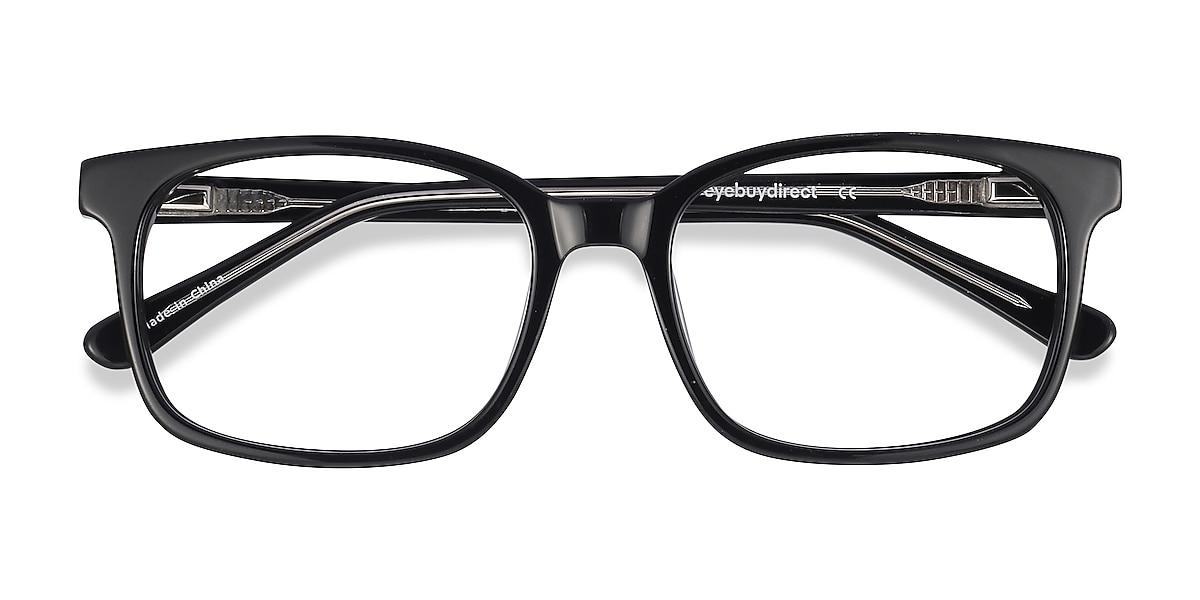 Unisex Rectangle Black Acetate Prescription eyeglasses - EyeBuydirect's Claudia