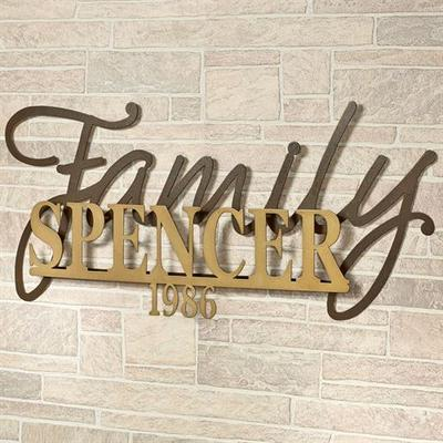 Signature Established Year Personalized Metal Wall Art Sign Gold/Bronze , Gold/Bronze