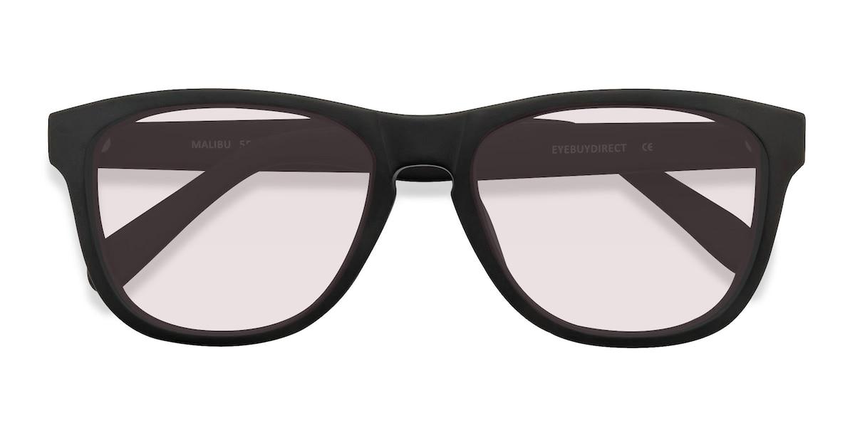 Unisex Rectangle Matte Black Acetate Prescription sunglasses - EyeBuydirect's Malibu
