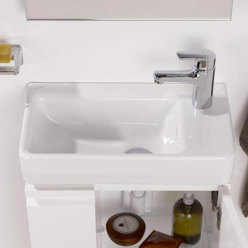 Laufen Pro S Handwaschbecken B: 48 T: 28 cm, asymmetrisch weiß, mit Clean Coat, mit 1 Hahnloch H8159544001041