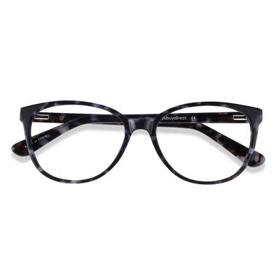Female's Horn Gray Floral Acetate Prescription eyeglasses - EyeBuydirect's Hepburn