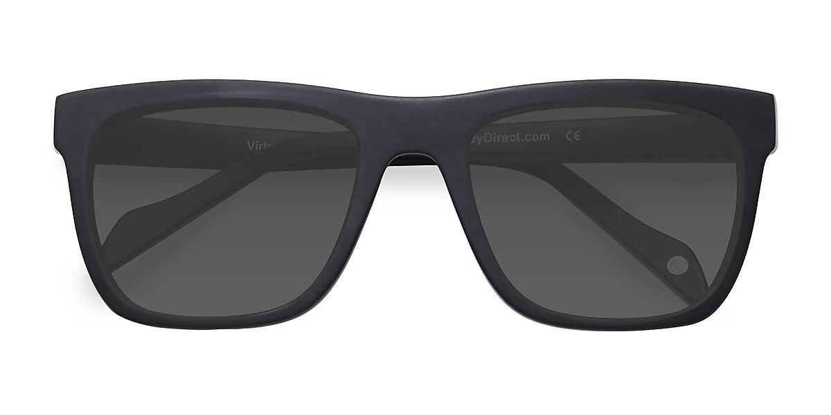 Unisex Square Matte Black Acetate Prescription sunglasses - EyeBuydirect's Virtual