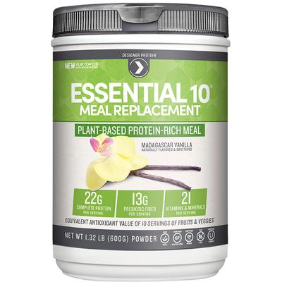 Designer Protein Essential 10 Meal Replacement 100% Plant Based Protein Vanilla-540 grams Powder