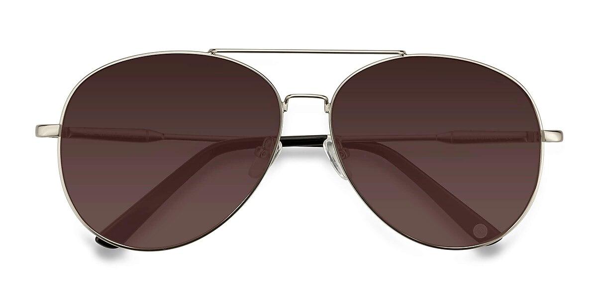Unisex Aviator Matte Silver Metal Prescription sunglasses - EyeBuydirect's Camp
