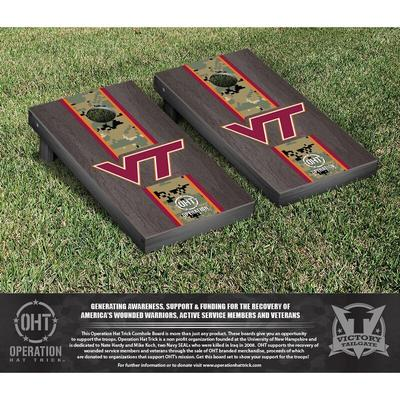 """Virginia Tech Hokies 2' x 4' OHT Military Appreciation Cornhole Board Tailgate Toss Set"""