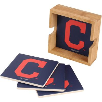 """""""Cleveland Indians 4-Pack Square Coaster Set with Caddy"""""""