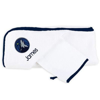 """Infant White Minnesota Timberwolves Personalized Hooded Towel & Mitt Set"""