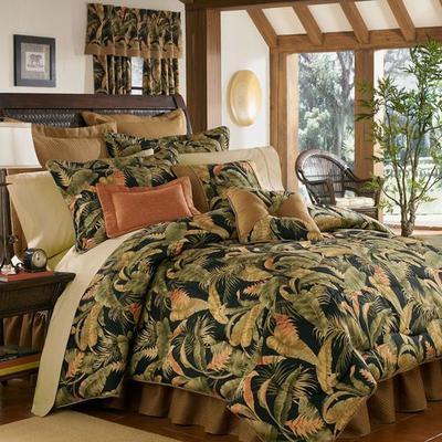 La Selva Tropical Comforter Set Black, California King, Black