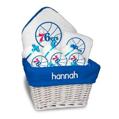 """Newborn & Infant White Philadelphia 76ers Personalized Medium Gift Basket"""