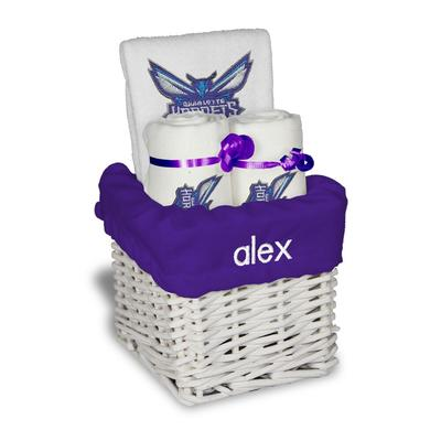 """""""White Charlotte Hornets Personalized Small Gift Basket"""""""