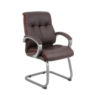 Boss Office Products Boss Double Plush Executive Guest Chair - Bomber Brown BSEB8779PBN