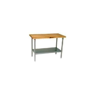John Boos JNS10 1-1/2 in. Thick Maple Butcher Block Kitchen Work Table - 60 in. x 30 in. x 36 in.