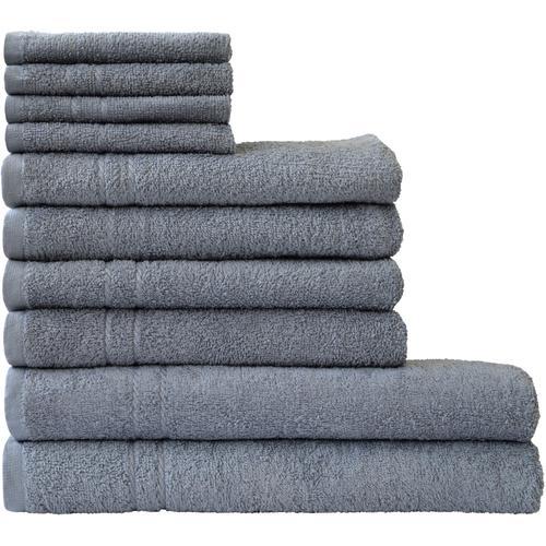Dyckhoff Handtuch Set Kristall, mit feiner Bordüre grau Handtuch-Sets Handtücher Badetücher