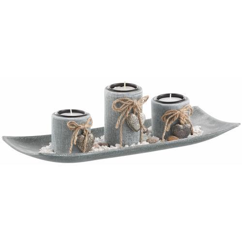 locker Dekoschale grau Kerzenhalter Kerzen Laternen Wohnaccessoires