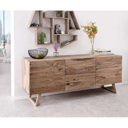 DELIFE Designer-Sideboard Wyatt 177 cm Sheesham Natur 2 Türen, Sideboards