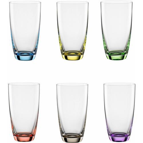 BOHEMIA SELECTION Longdrinkglas VIVA COLORI, (Set, 6 tlg.), dekorieter Eisboden farblos Kristallgläser Gläser Glaswaren Haushaltswaren