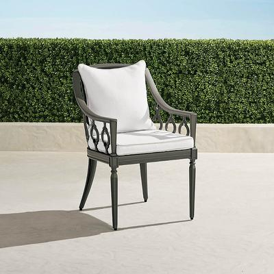 Avery Dining Arm Chair with Cushions in Slate Finish - Gingko, Solid, Special Order - Frontgate