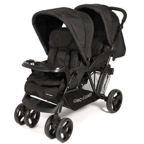 CHIC4BABY Geschwisterwagen Doppio, schwarz, mit Regenschutz; Kinderwagen, Kinderwagen für Geschwister; Geschwisterkinderwagen schwarz Kinder Buggies