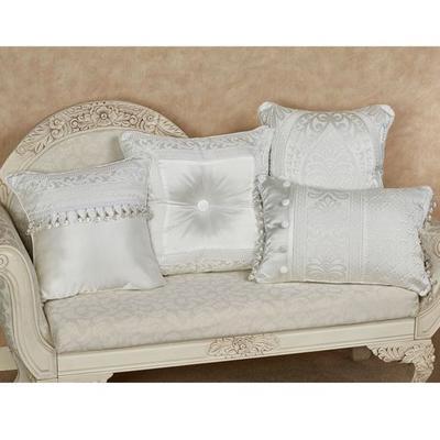 Bianco Beaded Pillow White 18