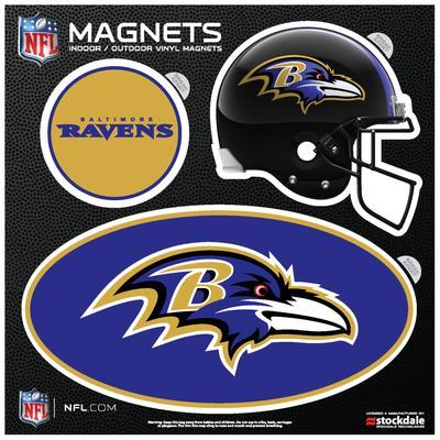 Baltimore Ravens Indoor & Outdoor 3-Pack Magnet Set